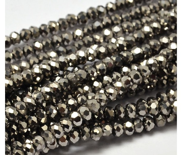 Grey Metallic Opaque Glass Beads, 4x3mm Faceted Rondelle
