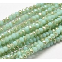 Teal Half Plated Opaque Glass Beads, 4x3mm Faceted Rondelle