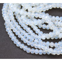 Sea Opal Glass Beads, 4x3mm Faceted Rondelle