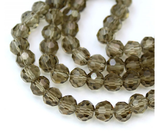 Grey Brown Glass Beads, 6mm Faceted Round
