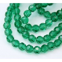 Teal Glass Beads, 6mm Faceted Round