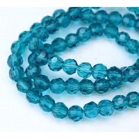 Denim Blue Glass Beads, 6mm Faceted Round