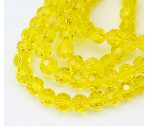 Yellow Glass Beads, 6mm Faceted Round
