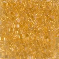 5mm Miyuki Half Tila Beads, Transparent Light Gold, 10 Gram Bag