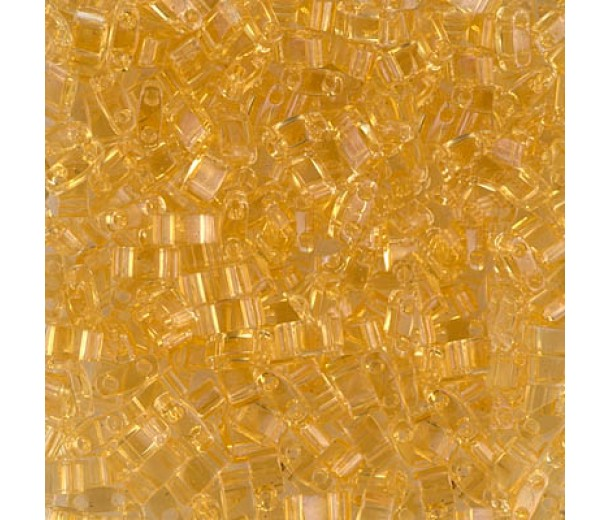 5mm Miyuki Half Tila Beads, Transparent Light Gold, 10 Gram Bag