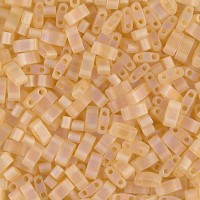 5mm Miyuki Half Tila Beads, Matte Rainbow Light Gold, 10 Gram Bag