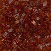 5mm Miyuki Half Tila Beads, Transparent Amber, 10 Gram Bag