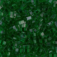 5mm Miyuki Half Tila Beads, Transparent Green, 10 Gram Bag