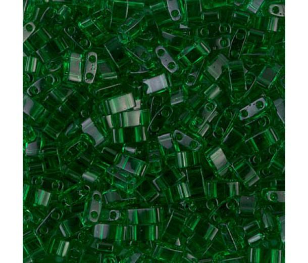 5mm Miyuki Half Tila Beads, Transparent Green, 10 Gram Bag