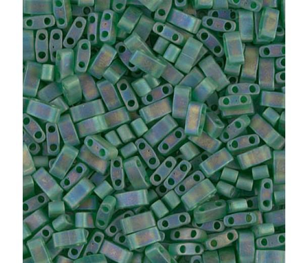 5mm Miyuki Half Tila Beads, Matte Rainbow Green, 10 Gram Bag
