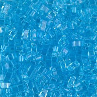 5mm Miyuki Half Tila Beads, Transparent Sky Blue, 10 Gram Bag