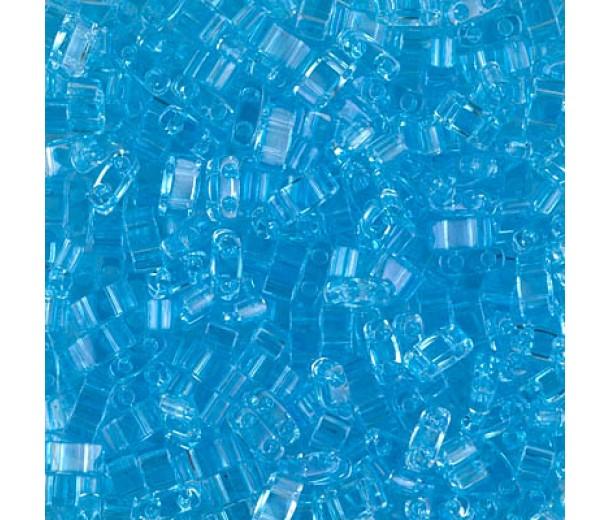 5mm Miyuki Half Tila Beads, Transparent Sky Blue, 10 Gram Bag