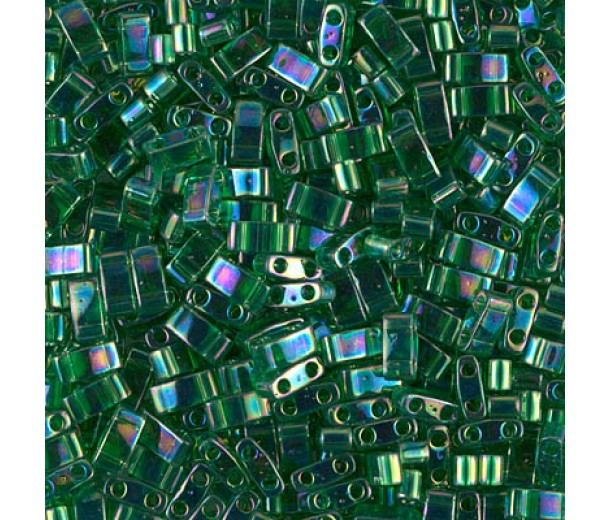 5mm Miyuki Half Tila Beads, Rainbow Green, 10 Gram Bag
