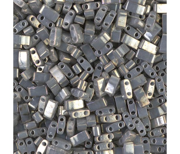 5mm Miyuki Half Tila Beads, Opaque Smoke Grey Luster, 10 Gram Bag