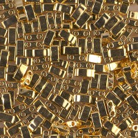 5mm Miyuki Half Tila Beads, 24K Gold Plated, 10 Gram Bag