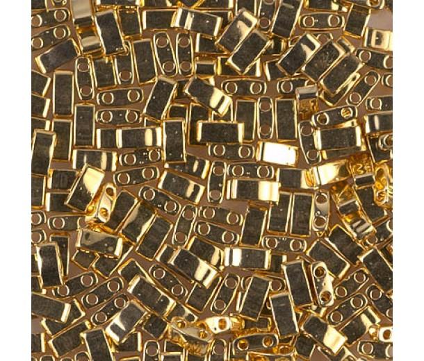 5mm Miyuki Half Tila Beads, 24K Gold Plated, 10 Gram Bag