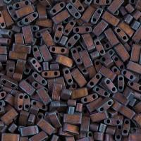 5mm Miyuki Half Tila Beads, Matte Rainbow Copper, 10 Gram Bag