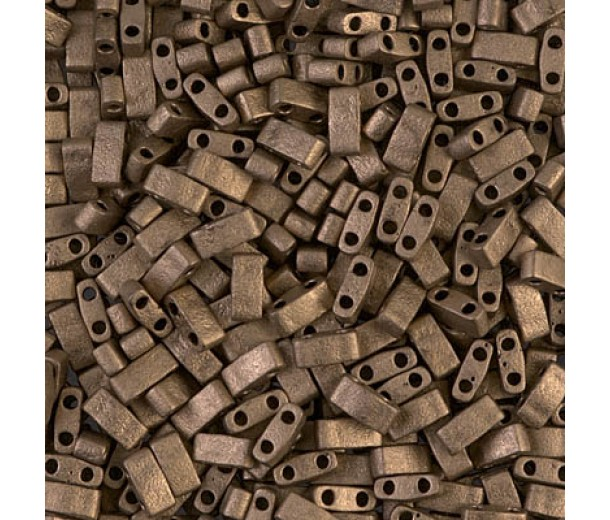 5mm Miyuki Half Tila Beads, Matte Metallic Bronze, 10 Gram Bag