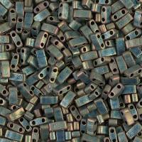 5mm Miyuki Half Tila Beads, Matte Rainbow Sage Green, 10 Gram Bag