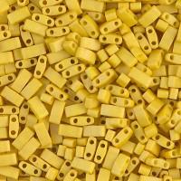 5mm Miyuki Half Tila Beads, Matte Mustard Yellow, 7.8 Gram Tube