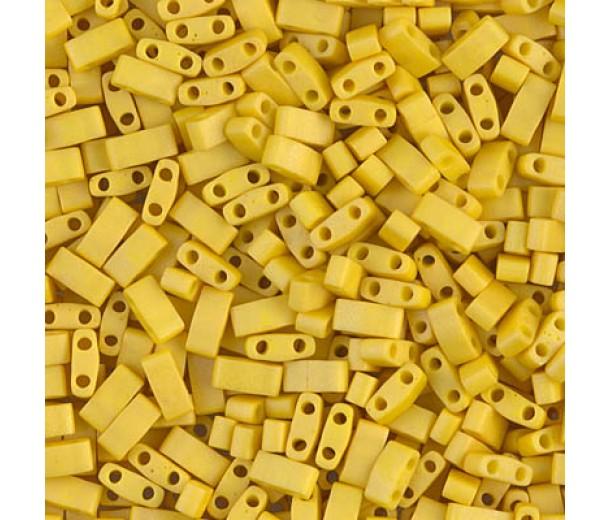 5mm Miyuki Half Tila Beads, Matte Mustard Yellow, 10 Gram Bag