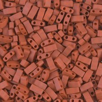 5mm Miyuki Half Tila Beads, Matte Terracotta Red, 10 Gram Bag