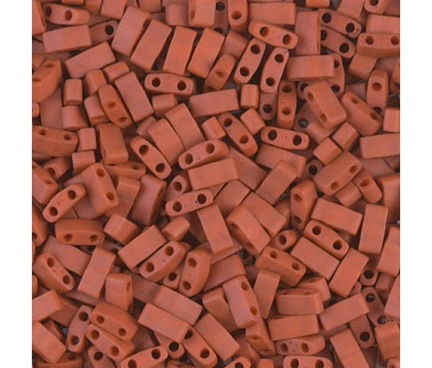 5mm Miyuki Half Tila Beads, Matte Terracotta Red, 7.8 Gram Tube