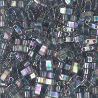 5mm Miyuki Half Tila Beads, Rainbow Dark Grey Luster, 10 Gram Bag