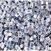 5mm Miyuki Half Tila Beads, Rainbow Crystal, 10 Gram Bag