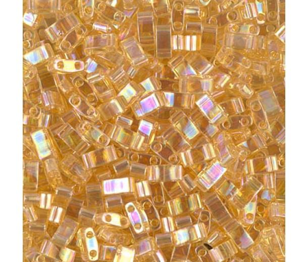 5mm Miyuki Half Tila Beads, Rainbow Light Gold, 10 Gram Bag