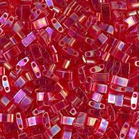 5mm Miyuki Half Tila Beads, Rainbow Berry Red, 10 Gram Bag