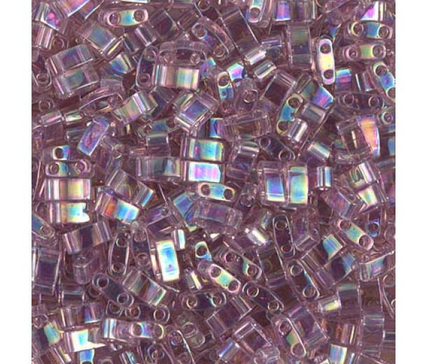 5mm Miyuki Half Tila Beads, Rainbow Light Amethyst, 10 Gram Bag