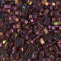 5mm Miyuki Half Tila Beads, Rainbow Rose Gold Luster, 10 Gram Bag