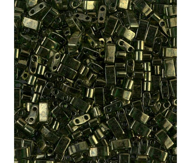 5mm Miyuki Half Tila Beads, Moss Green Gold Luster, 10 Gram Bag