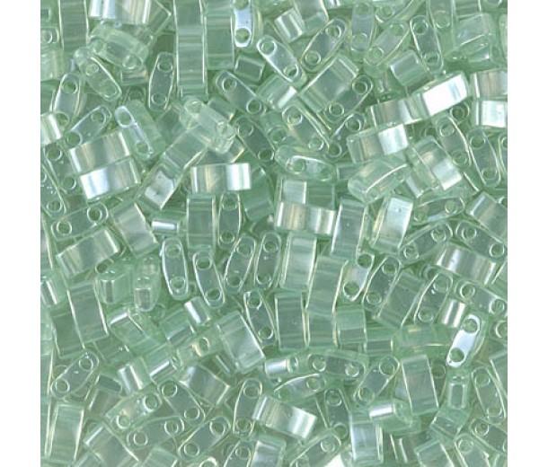 5mm Miyuki Half Tila Beads, Seafoam Green Luster, 10 Gram Bag