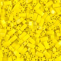 5mm Miyuki Half Tila Beads, Opaque Yellow, 10 Gram Bag