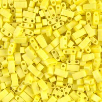5mm Miyuki Half Tila Beads, Matte Rainbow Yellow, 10 Gram Bag