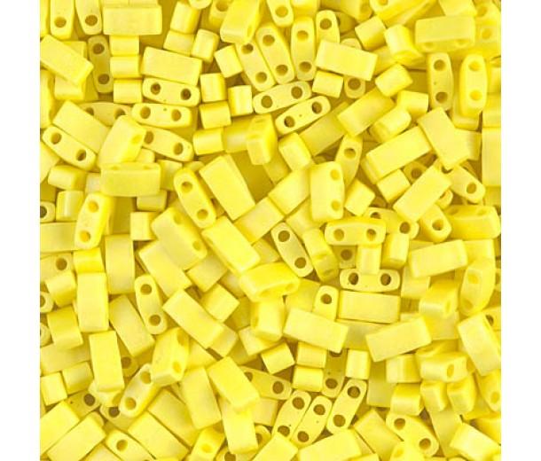 5mm Miyuki Half Tila Beads, Matte Rainbow Yellow, 10 Gram Bag