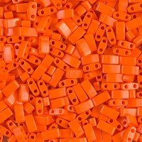 5mm Miyuki Half Tila Beads, Opaque Dark Orange, 10 Gram Bag