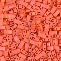 5mm Miyuki Half Tila Beads, Matte Rainbow Dark Orange, 10 Gram Bag