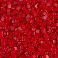 5mm Miyuki Half Tila Beads, Opaque Dark Red, 10 Gram Bag