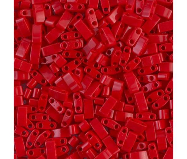 5mm Miyuki Half Tila Beads, Opaque Dark Red, 7.8 Gram Tube