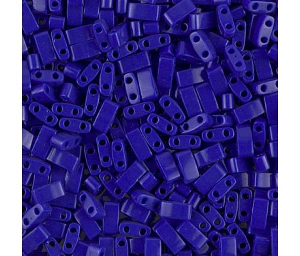 5mm Miyuki Half Tila Beads, Opaque Cobalt Blue, 10 Gram Bag