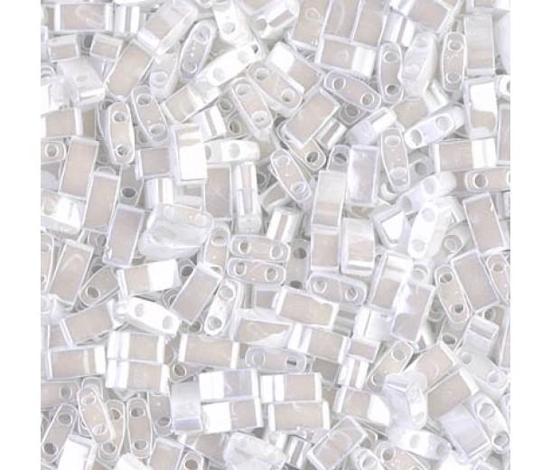 5mm Miyuki Half Tila Beads, White Luster, 10 Gram Bag