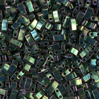 5mm Miyuki Half Tila Beads, Rainbow Metallic Green, 10 Gram Bag