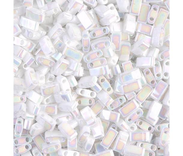 5mm Miyuki Half Tila Beads, Rainbow White, 10 Gram Bag