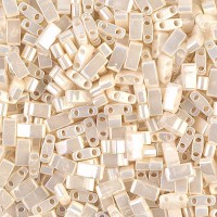 5mm Miyuki Half Tila Beads, Antique Ivory Ceylon, 10 Gram Bag