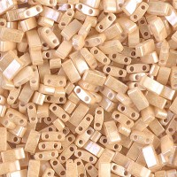 5mm Miyuki Half Tila Beads, Light Caramel Ceylon, 10 Gram Bag