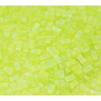 5mm Miyuki Half Tila Beads, Matte Rainbow Lime Green, 10 Gram Bag