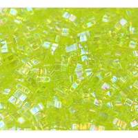 5mm Miyuki Half Tila Beads, Rainbow Lime Green, 10 Gram Bag
